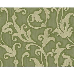 A.S. Creation Tessuto Baroque Wallpaper Roll - 21 -in - Green