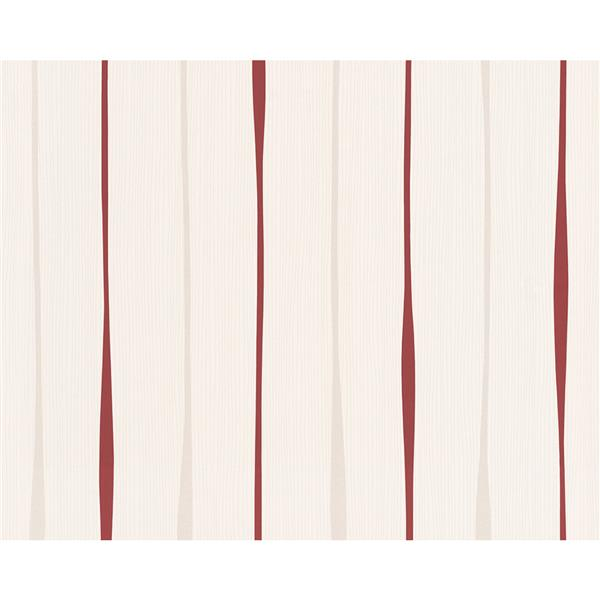 A.S. Creation Swing Line Circles Wallpaper Roll - 21 -in - Off-White/Red
