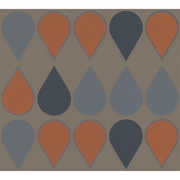 A.S. Creation RAFFI Wallpaper Roll - Drop Pattern - 21-in - Grey/Orange