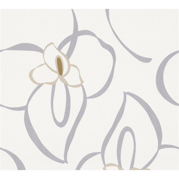 A.S. Creation RAFFI Wallpaper Roll - Floral - 21-in - Cream/Gey