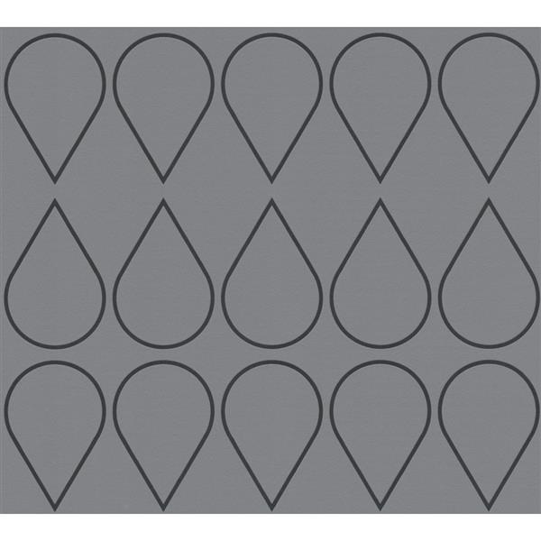 A.S. Creation RAFFI Wallpaper Roll - Drop Pattern - 21-in - Black/Light Grey
