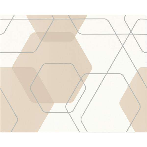 A.S. Creation Modern Abstract Wallpaper Roll - 21-in - Hexagon Pattern - White/Beige
