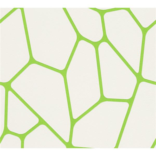 A.S. Creation Abstract Wallpaper Roll - 21-in - White/ Green