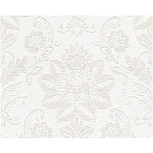 A.S. Creation Textile Look Wallpaper Roll - 21 -in - White/ Brown