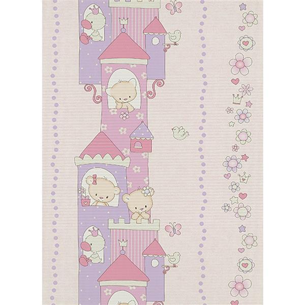 Erismann Childs Kids Wallpaper Roll - 21-in - Beige/ violet