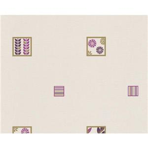A.S. Creation Modern Abstract Wallpaper Roll - 21-in - Purple Pattern - Cream