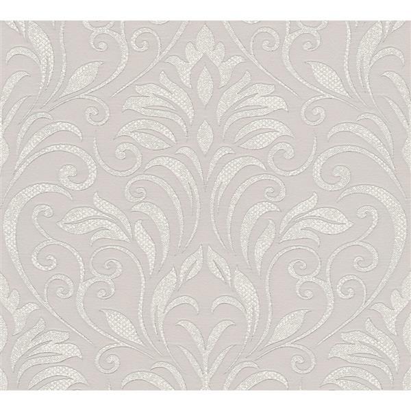 "Baroque Motifs Wallpaper Roll - 21"" - Gray/ Metallic"