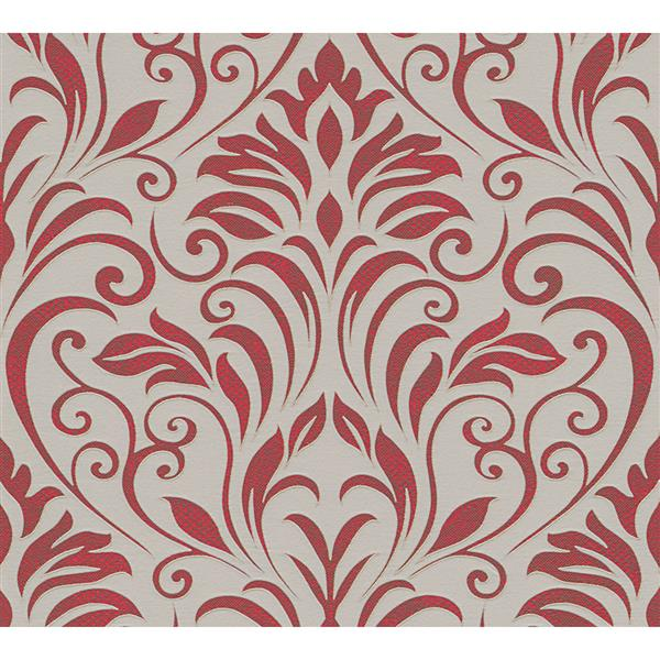 A.S. Creation Moments Collection Wallpaper Roll - 21-in - Red and Beige Damask Pattern