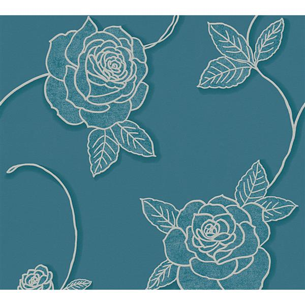 A.S. Creation Moments Collection Wallpaper Roll - 21-in - Blue Floral Pattern