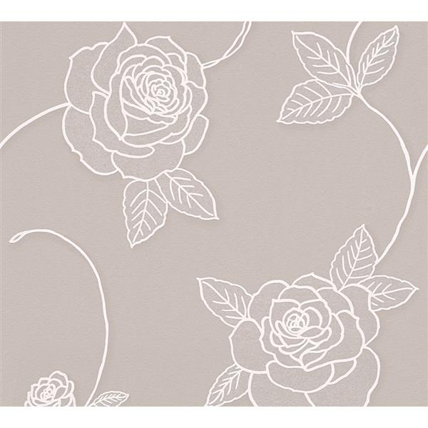 A.S. Creation Moments Collection Wallpaper Roll - 21-in - Beige Floral Pattern