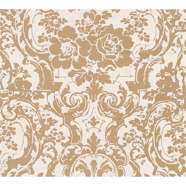 A.S. Creation Moments Collection Wallpaper Roll - 21-in - Gold Floral/Damask Pattern
