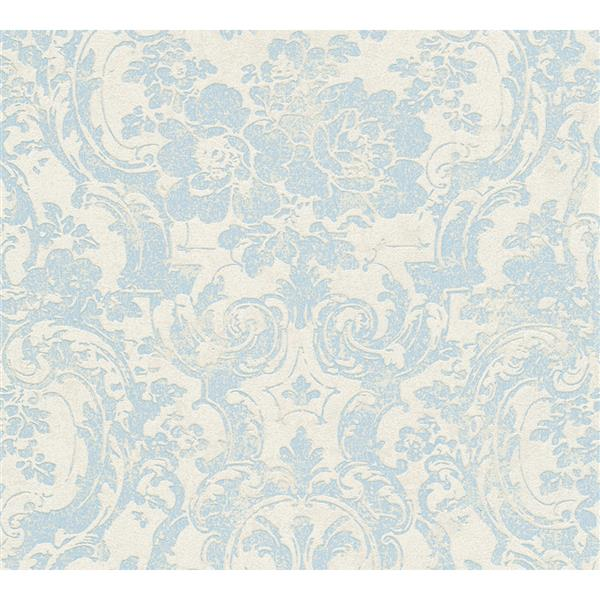A.S. Creation Moments Collection Wallpaper Roll - 21-in - Light Blue and Beige Damask Pattern