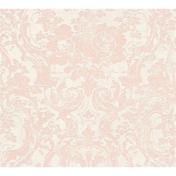 A.S. Creation Moments Collection Wallpaper Roll - 21-in - Pink and Beige Damask Pattern