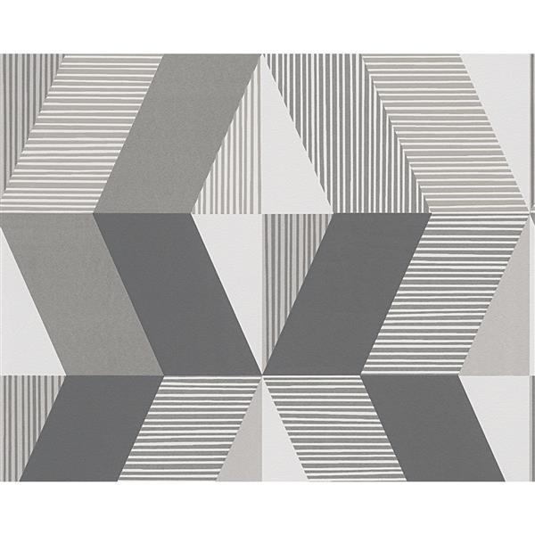 A.S. Creation Metropolis 2 Wallpaper Roll - 21-in - Geometric - Grey