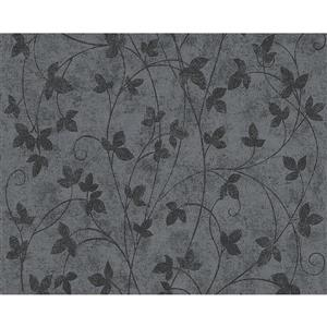 A.S. Creation Romantic Cottage Floral Wallpaper Roll - 21-in - Grey