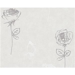 A.S. Creation Romantic Cottage Rose Wallpaper Roll - 21-in - White