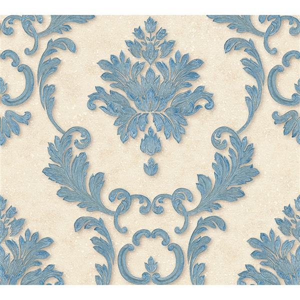 A.S. Creation High Quality Damask Wallpaper Roll - 21-in - Beige/Blue