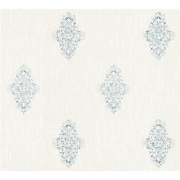 A.S. Creation High Quality Damask Wallpaper Roll - 21-in - Blue/Cream