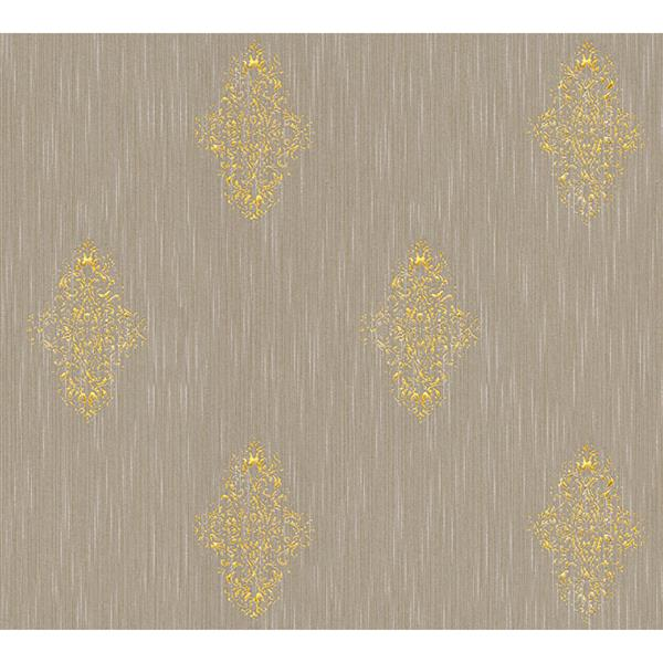 A.S. Creation High Quality Damask Wallpaper Roll - 21-in - Gold/Brown