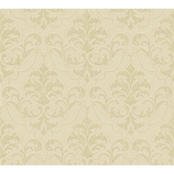 A.S. Creation Haute Couture 3 Collection Wallpaper Roll - 21 -in - Damask Pattern - Light Green/Beige