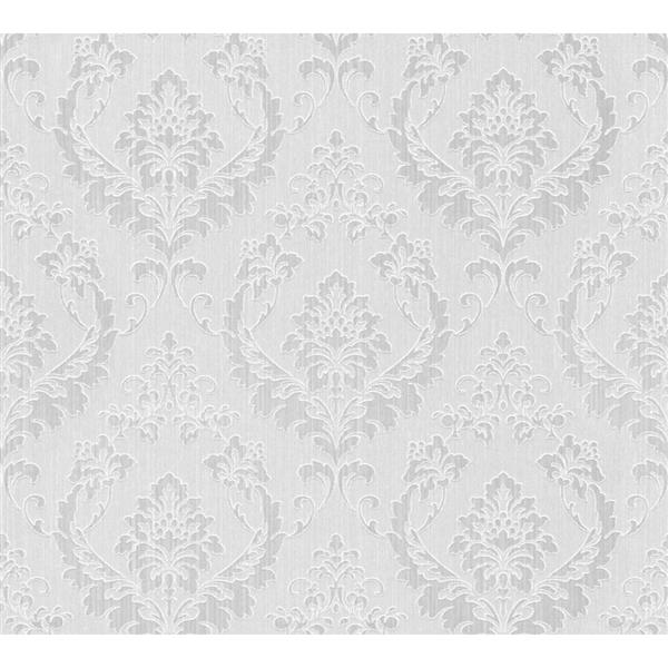 A.S. Creation Haute Couture 2 Collection Wallpaper Roll - 21 -in - Damask Pattern - White