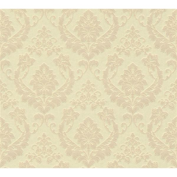 A.S. Creation Haute Couture 2 Collection Wallpaper Roll - 21 -in - Damask Pattern - Cream/Beige