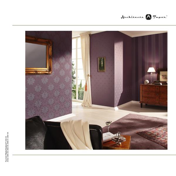 A.S. Creation Haute Couture 2 Collection Wallpaper Roll - 21 -in - Damask Pattern - Purple/Blue