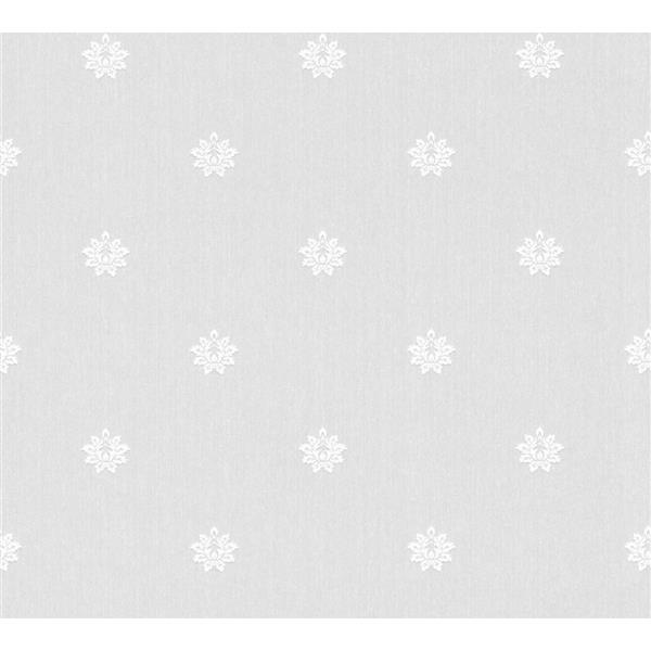 A.S. Creation Haute Couture 2 Collection Wallpaper Roll - 21 -in - Damask Pattern - White/Light Grey