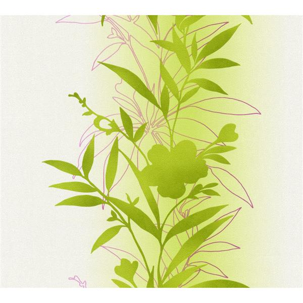 A.S. Creation Felicia Collection Wallpaper Roll - 21-in - Exotic Tropical Pattern - Green and Pink