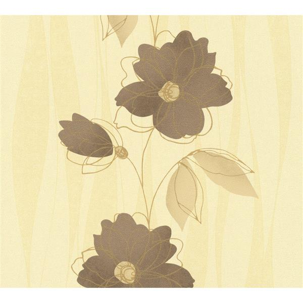 A.S. Creation Felicia Collection Wallpaper Roll - 21-in - Brown and Beige Flowers