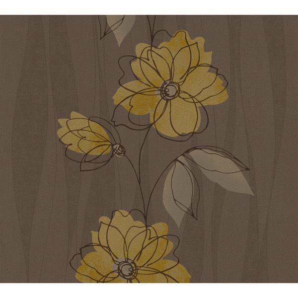 A.S. Creation Felicia Collection Wallpaper Roll - 21-in - Brown and Yellow Flowers