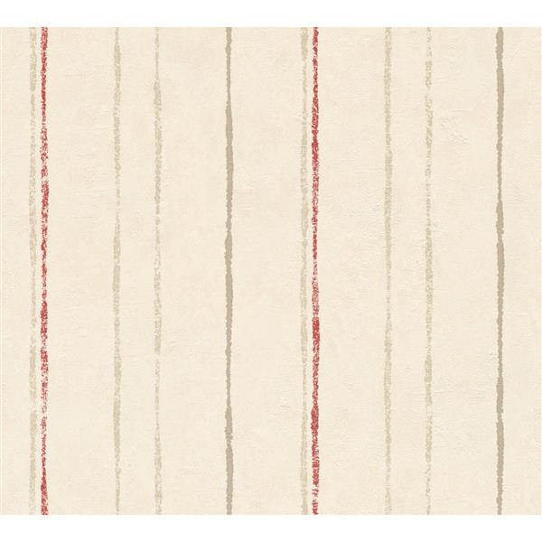 A.S. Creation Felicia Collection Wallpaper Roll - 21-in - Red and Beige Stripes