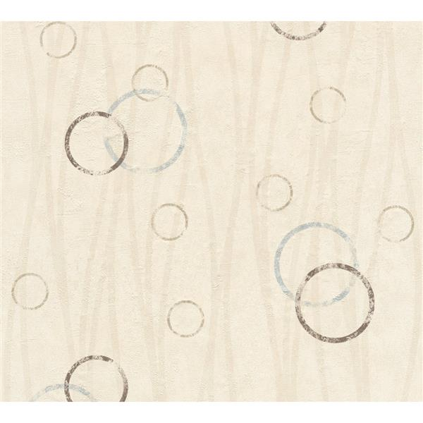 A.S. Creation Felicia Collection Wallpaper Roll - 21-in - Circle Pattern - Light Beige