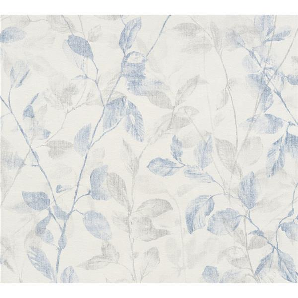 A.S. Creation Esprit 8 Wallpaper Roll - 21-in - Delicate Floral Pattern - Grey and Light Blue