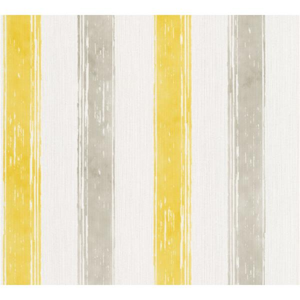 A.S. Creation Esprit 8 Wallpaper Roll - 21-in - Lined Pattern - Beige and Yellow