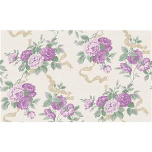 design id Goodwood Wallpaper Roll - 21-in - Cream/Lilac
