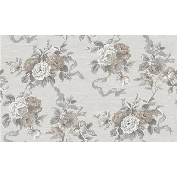 design id Goodwood Wallpaper Roll - 21-in - Cream/Gray