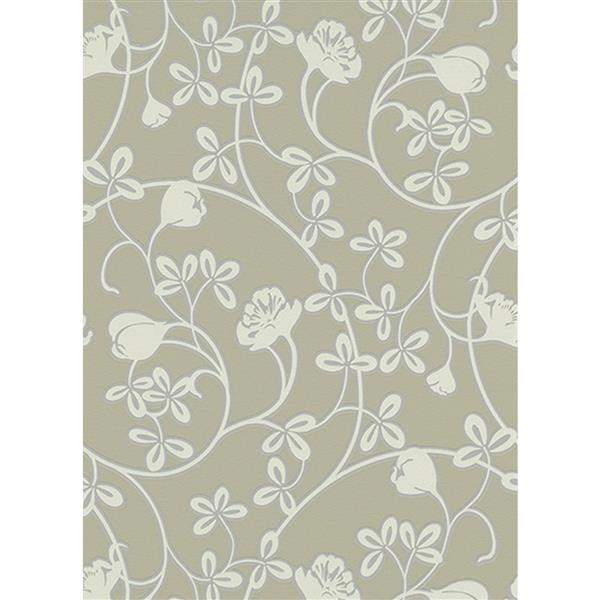 Erismann Glossy Wallpaper Roll - 21-in - Green/White