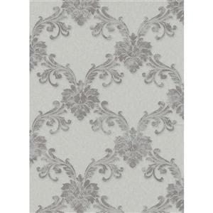 Erismann Eterna Wallpaper Roll - 21-in - Light Gray