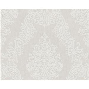 A.S. Creation Elegance 2 Wallpaper Roll - 21-in - Damask Pattern - White