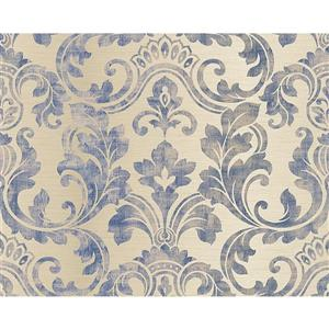 A.S. Creation Hollywood Wallpaper Roll - 21-in - Cream/Blue