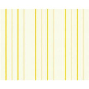 A.S. Creation Happy Hour Collection Wallpaper Roll - 21 -in - Floral Pattern - White and Yellow Stripes
