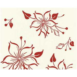 A.S. Creation Happy Hour Collection Wallpaper Roll - 21-in - Floral Pattern - Cream and Red