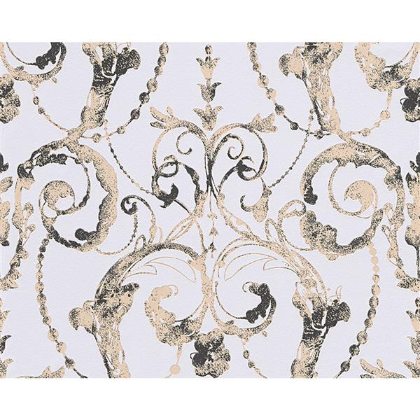 A.S. Creation Flock 4 Collection Wallpaper Roll - 21-in - Damask Pattern - Grey and Beige