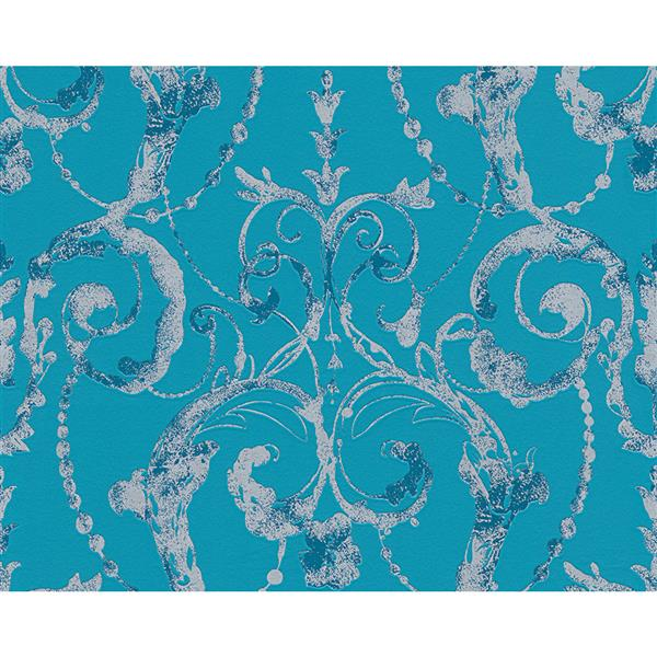 A.S. Creation Flock 4 Collection Wallpaper Roll - 21-in - Damask Pattern - Turquoise and Grey
