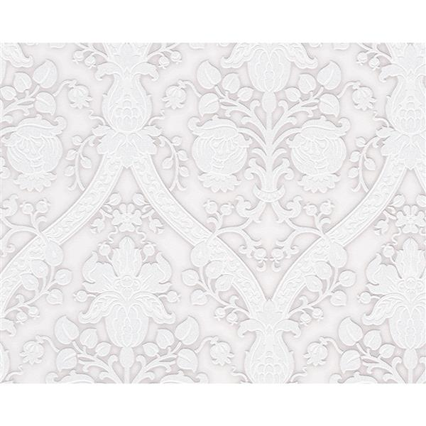 A.S. Creation Flock 4 Collection Wallpaper Roll - 21-in - Damask Pattern - White