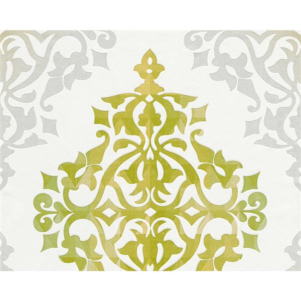 A.S. Creation Flock 4 Collection Wallpaper Roll - 21-in - Modern Damask Pattern - White and Green