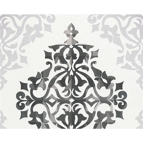 A.S. Creation Flock 4 Collection Wallpaper Roll - 21-in - Modern Damask Pattern - Black and White