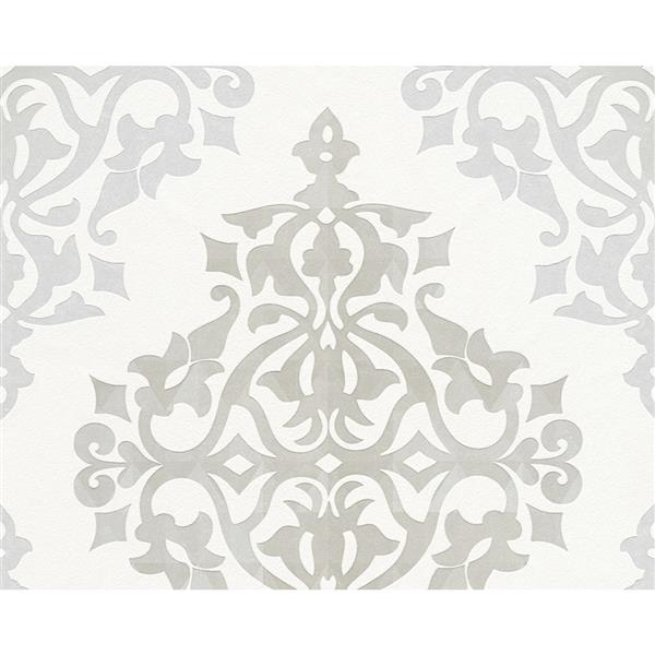 A.S. Creation Flock 4 Collection Wallpaper Roll - 21-in - Modern Damask Pattern - White and Grey