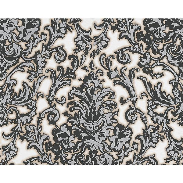 A.S. Creation Flock 4 Collection Wallpaper Roll - 21-in - Damask Pattern - Black and Grey